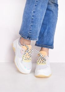 Chunky Iridescent Panel Lace Up Trainers Grey