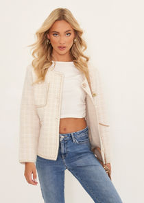 Cosy Knitted Assorted Pearl Buttoned Checked Cardigan Beige