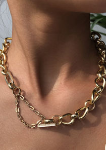 Chunky Rod End Extended Chained Necklace Gold