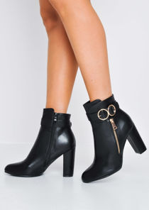 Circle Buckle Block Heeled Ankle Boots Black