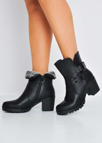 Cleated Sole Block Heel PU Ankle Boots Black