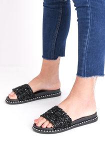 Cluster Diamante Studded Sliders Black