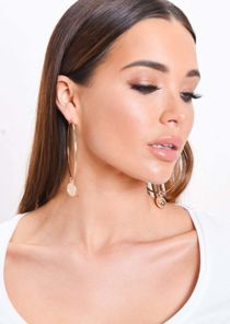 Large Coin Hoop Earrings Gold