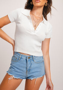 Collared Knitted Crop Top White
