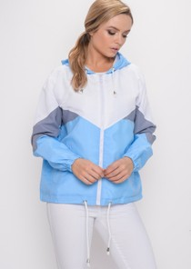 Colour Block Hooded Jacket Light Blue