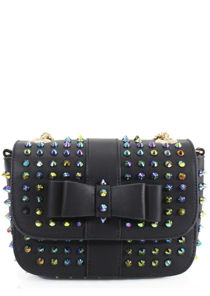 Cone Stud Chain Strapped Rivet Detailing Cross Over Bag Black