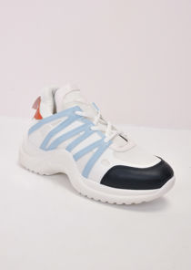 Contrast Arched Sole Chunky Trainers Light Blue