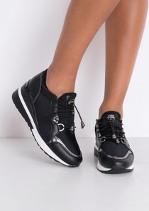 Contrast Wedge Chunky Trainers Black