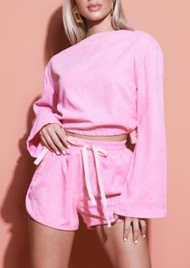 Cord Crop Top And Runner Shorts Loungewear Set Pink