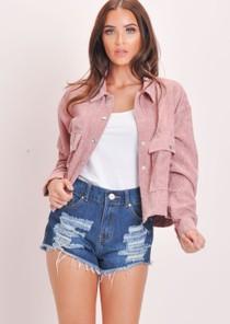 Cord Button Through Crop Trucker Jacket Pink