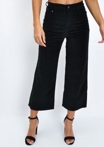 Corduroy Wide Leg Trousers Black