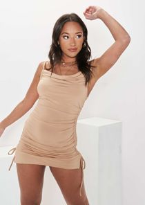 Cowl Neck Ruched Side Strappy Mini Dress Beige