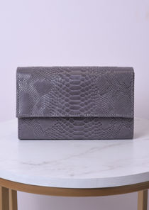 Croc Embossed Mini Clutch Bag With Detachable Chain Grey