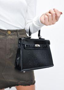 Croc Embossed Mini Tote Bag Black