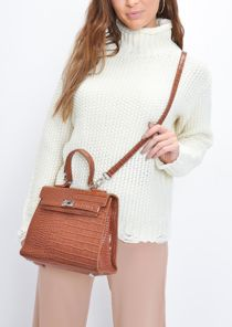 Croc Embossed Mini Tote Bag Brown