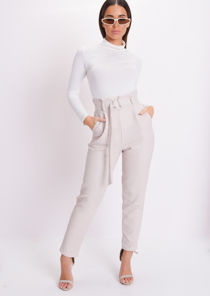 Croc Print Belted Tapered Trousers Beige