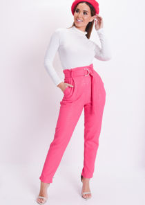 Croc Print Belted Tapered Trousers Pink