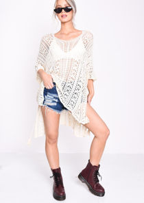 Crochet Side Slit Beach Cover Up Dress Beige
