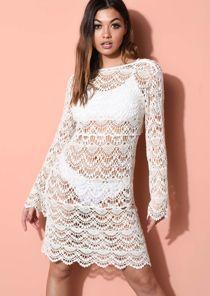 Crochet V Neck Beach Cover Up Dress Beige
