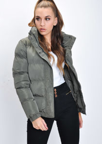 Crop Concealed Hood Padded Puffer Jacket Coat Khaki Green