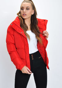 Crop Concealed Hood Padded Puffer Jacket Coat Red