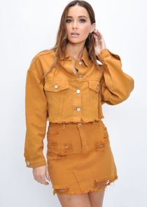 Crop Frayed Hem Denim Jacket Tan Brown