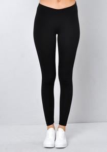 Back Button Detail Jersey Leggings Black