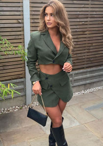 Cropped Corduroy Blazer Top  And Wrap Over Mini Skirt Co-Ord Set Green