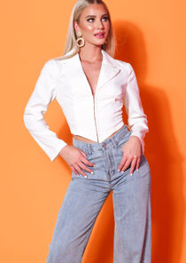 Cropped Corset Style Shirt White