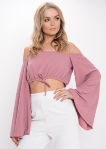 Cropped Flare Sleeve Top Pink