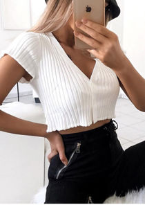 Cropped Ribbed Button Short Sleeve Cardigan Top White