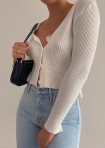 Cropped Ribbed Knitted Button Down Cardigan Top White