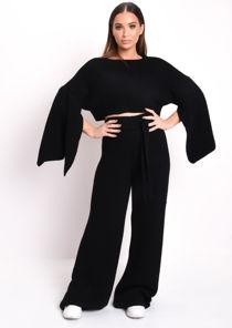 Cropped Batwing Slit Sleeve Ribbed Knit Lounge Co Ord Set Black
