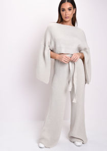 Cropped Batwing Slit Sleeve Ribbed Knit Lounge Co Ord Set Beige