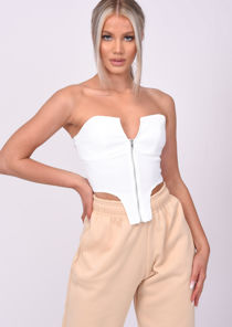 Cropped Zip Up Detail Stretch Corset Top White