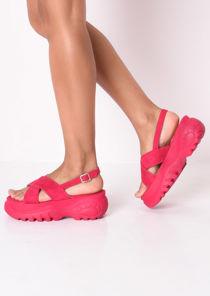Cross Over Chunky Platform Sandals Fuchsia Pink
