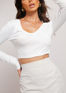 Deep V Neck Long Sleeve Crop Top White