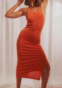Cross Over Slinky Back Strap Side Split Midi Dress Orange
