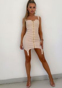 Cupped Bust Corset Bodycon Mini Dress Beige