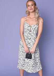 Dalmatian Animal Print Button Through Midi Dress White