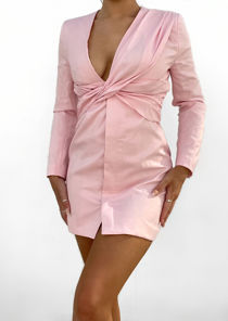 Deep V Shoulder Padded Twisted Front Button Down Mini Dress Pink