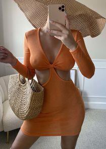 Deep V Slinky Long Sleeve Side Cut Out Back Tie Mini Dress Orange