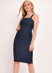 Denim Bodycon Midi Dress Dark Blue