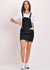 Denim Dungaree Pinafore Dress Black