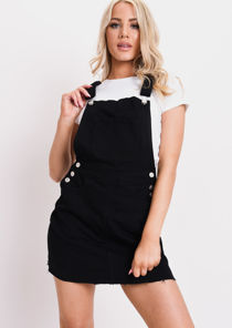Denim Dungaree Pinafore Mini Dress Black