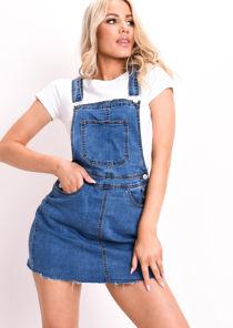 Denim Dungaree Pinafore Mini Dress Blue