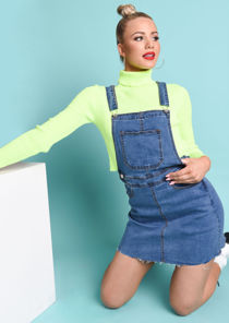 Denim Dungaree Pinafore Mini Dress Blue