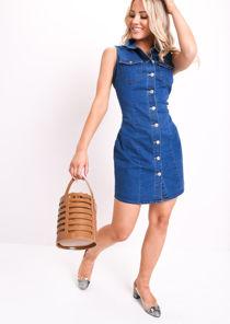 Denim Sleeveless Mini Dress Blue