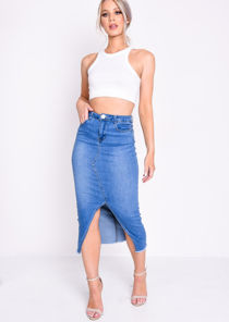 Denim Split Front Fray Hem Midi Pencil Skirt Blue
