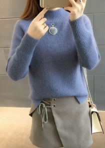 Detachable Accessorised High Neck chunky knitted Jumper Blue